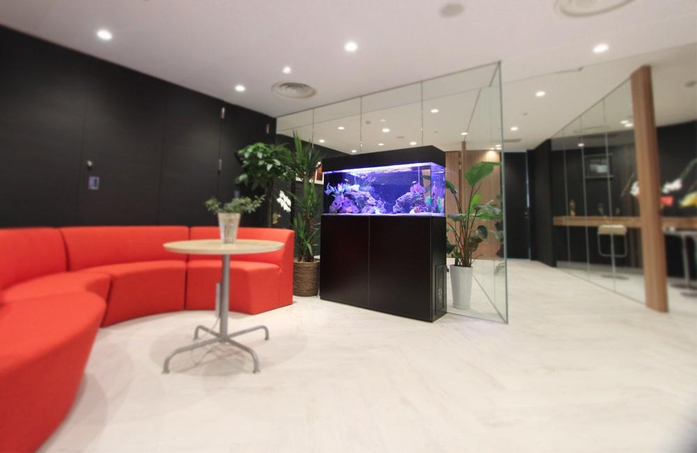 千代田区 オフィスのエントランスに設置 120cm海水魚水槽リース メイン画像