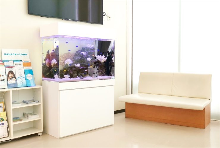 眼科クリニックの待合室 色鮮やかな90cm海水魚水槽 設置事例 メイン画像
