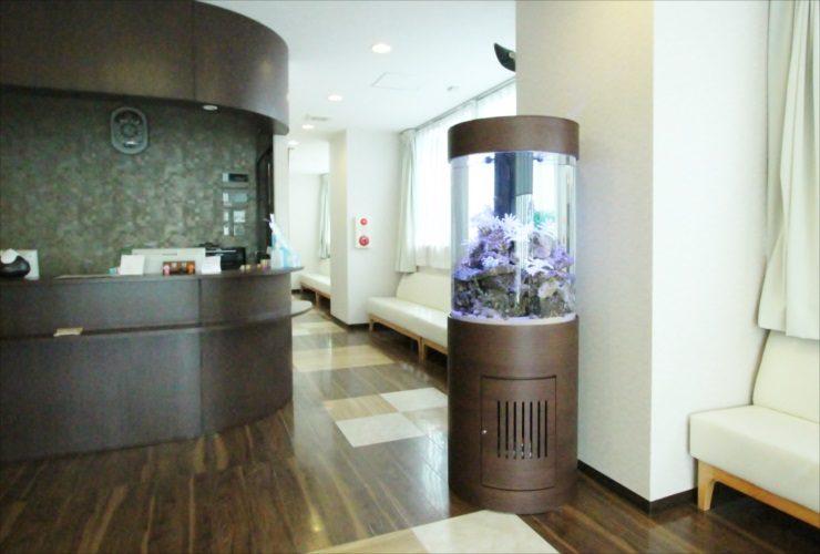 横浜 内科皮膚科の待合室 大型円柱アクアリウム 水槽設置事例 メイン画像