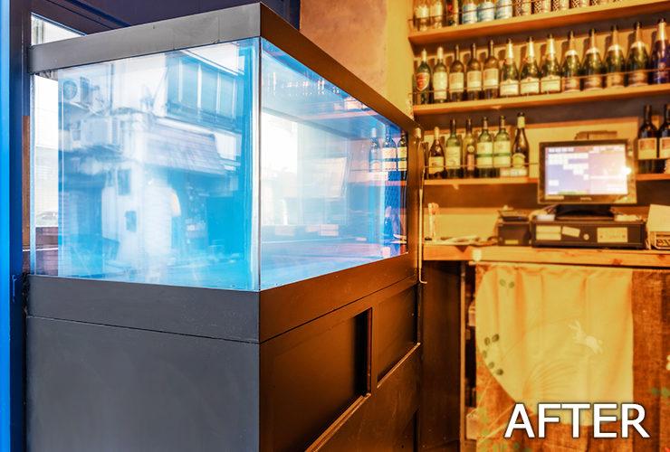目黒区 飲食店 120cm活魚水槽 スポットメンテナンス事例 水槽画像3