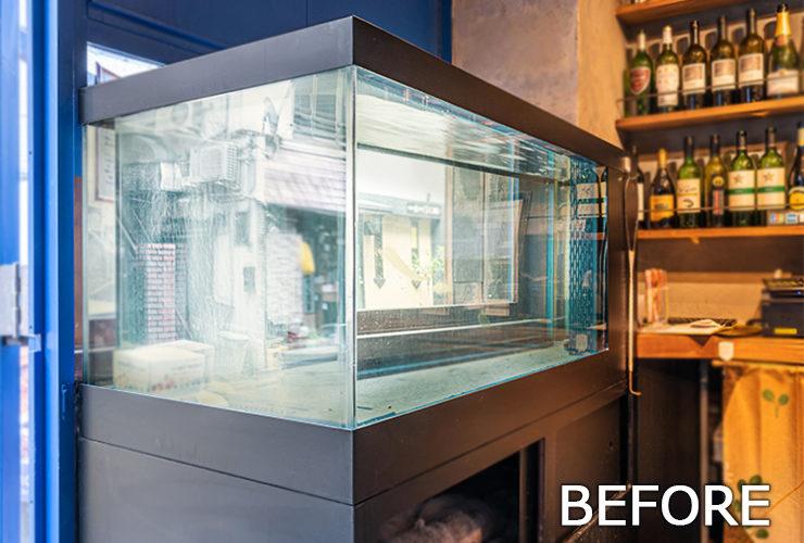 目黒区 飲食店 120cm活魚水槽 スポットメンテナンス事例 水槽画像2