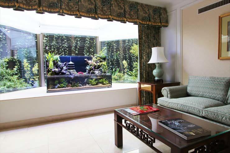 文京区 ホテル椿山荘東京様 客室に設置  テラリウム水槽(アクアテラリウム)の事例