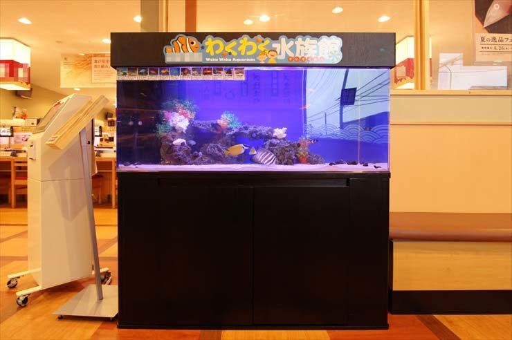 有名回転寿司チェーン店 待合スペースに設置 120cm海水魚水槽 メイン画像