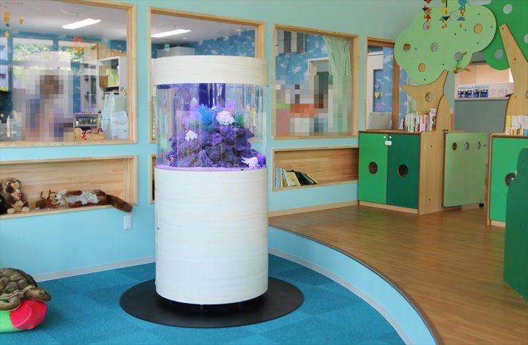 情操教育に最適!保育園に大型円柱水槽を設置しました