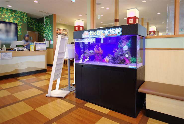 回転寿司チェーン店に設置 海水アクアリウム(120cm海水魚水槽)の事例 メイン画像