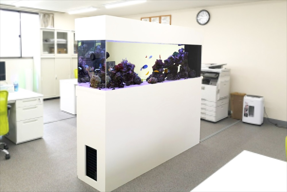 オフィス事務所 180cm海水魚水槽 斜め画像