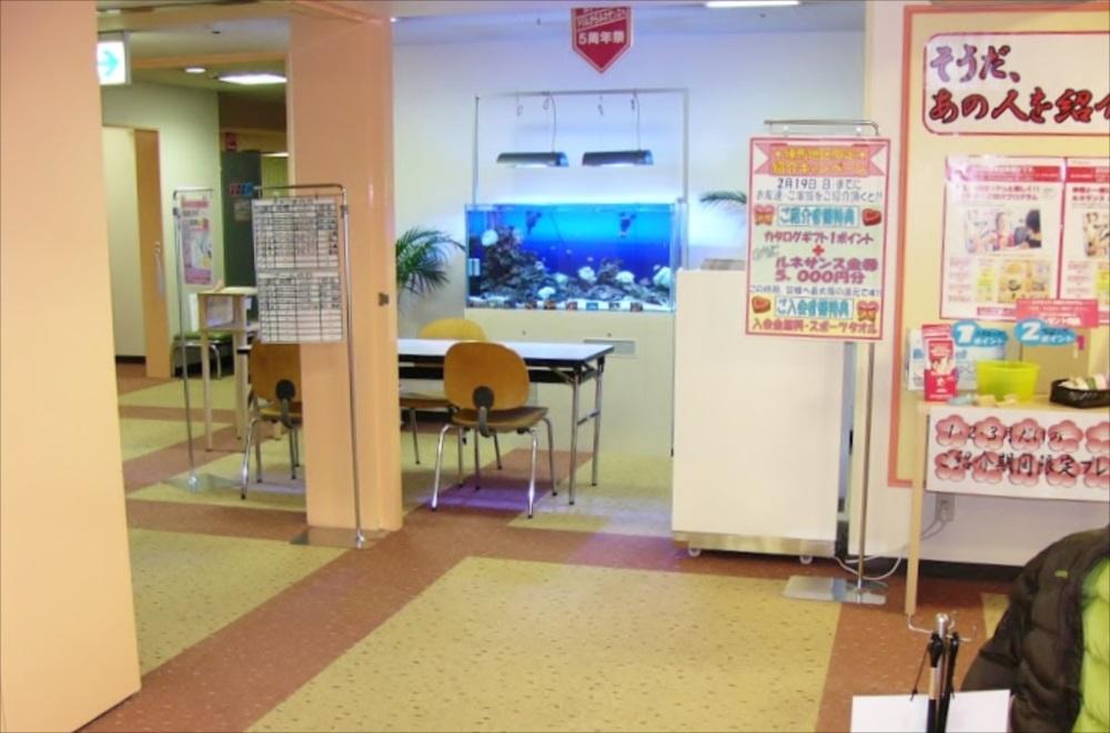 スポーツクラブ 120cm海水魚水槽 設置場所画像