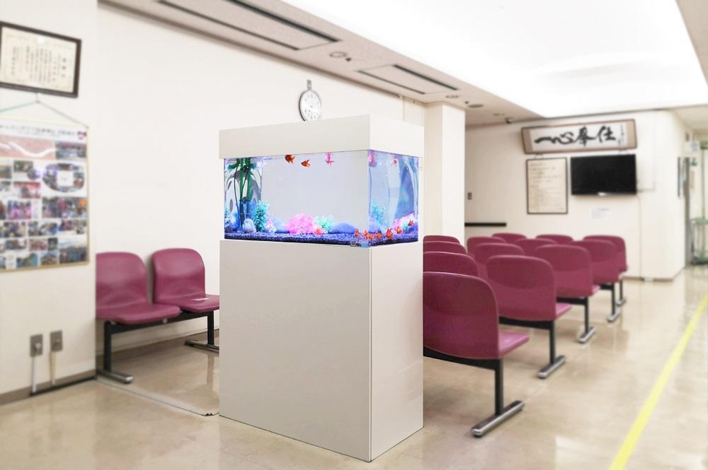 病院の待合室 90cm金魚水槽 斜め画像