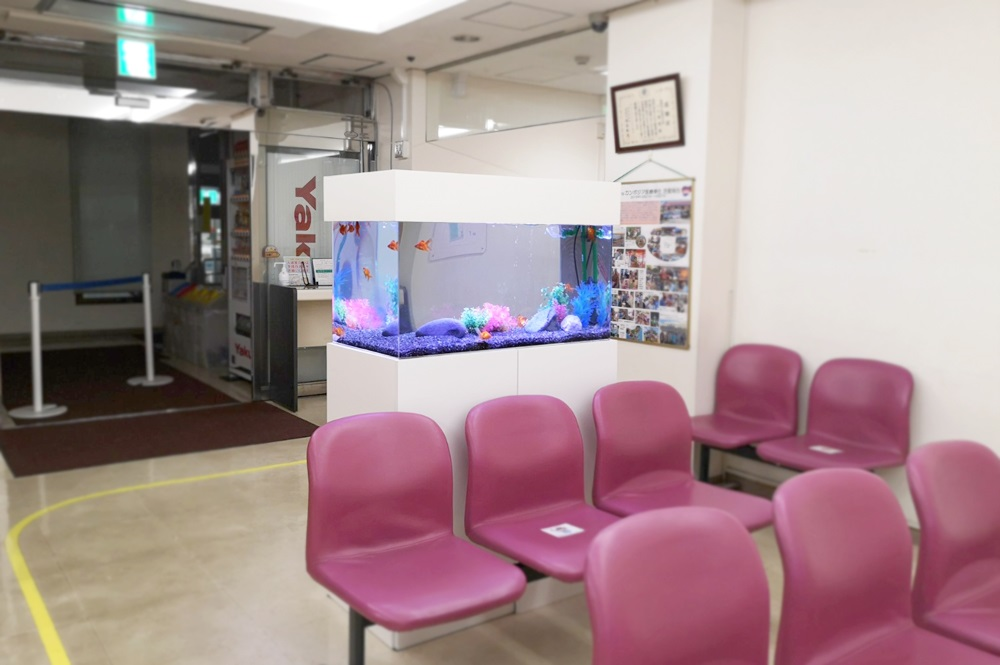 病院の待合室 90cm金魚水槽 斜め全体画像