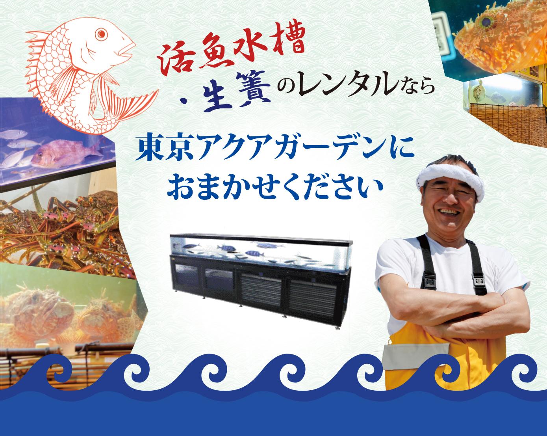 手頃なサイズから、本格サイズまで!いけす・生簀・活魚水槽の設置、レンタル・リースなら東京アクアガーデンにお任せください!